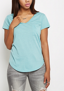 Mint Heathered V-Neck Pocket Tee