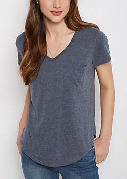 Navy Heathered V-Neck Pocket Tee