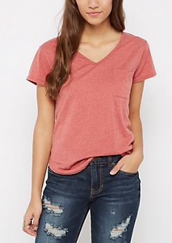 Red Heathered V-Neck Pocket Tee
