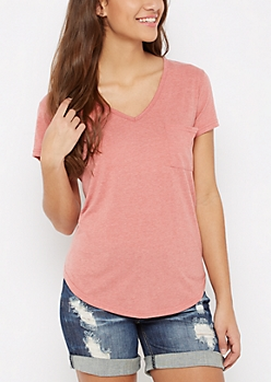 Dark Pink Heathered V-Neck Pocket Tee