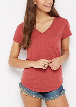 Burgundy Heathered V-Neck Pocket Tee