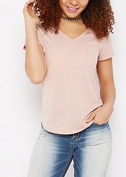 Pink Heathered V-Neck Pocket Tee