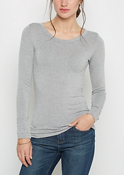 Gray Scoop Neck Long Sleeve Top