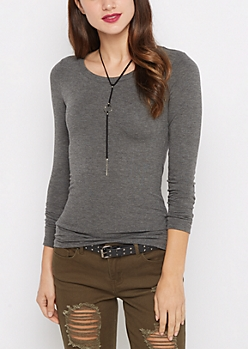 Charcoal Scoop Neck Long Sleeve Top