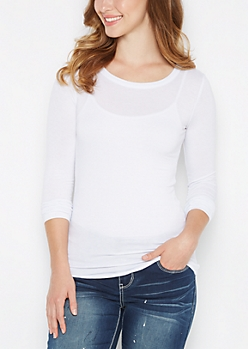 White Scoop Neck Long Sleeve Top