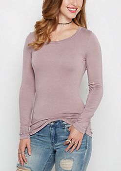Lavender Scoop Neck Long Sleeve Top