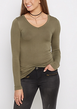 Olive V-Neck Long Sleeve Top