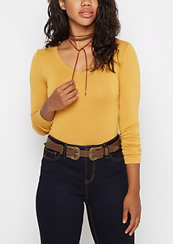 Mustard V-Neck Long Sleeve Top
