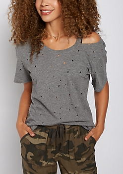Gray Distressed Cutout Neckline Tee