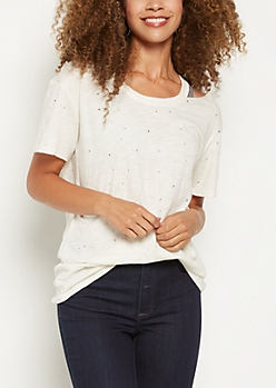 White Distressed Cutout Neckline Tee
