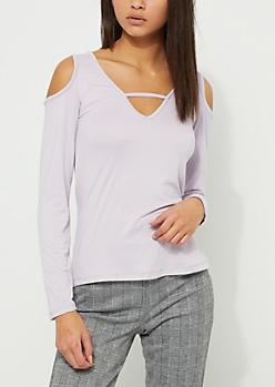 Lavender Soft Brushed Cold Shoulder Top