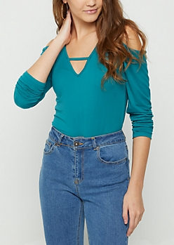 Teal Soft Brushed Cold Shoulder Top