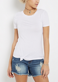 White Shirttail Hem Fitted Tunic Tee
