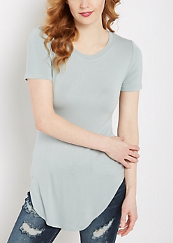 Slate Blue Shirttail Hem Fitted Tunic Tee