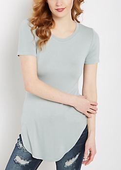 Slate Blue Shirttail Hem Fitted Tunic Tee