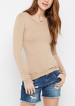 Taupe Soft Brushed Long Sleeve Tee