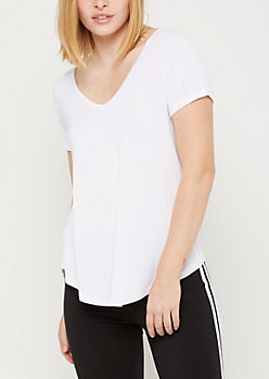 White Favorite Relaxed V Neck Tee