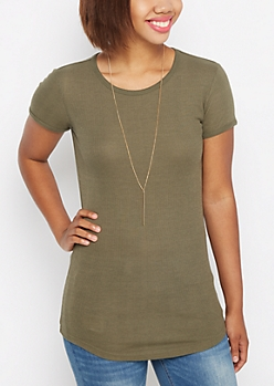 Olive Ribbed Knit Tunic Tee