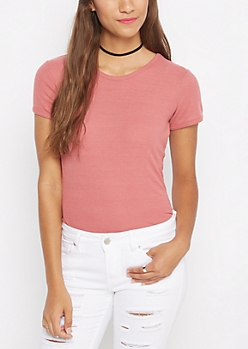 Dark Pink Ribbed Knit Tunic Tee