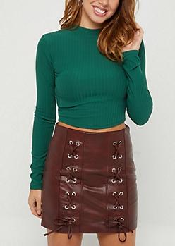 Green Rib Knit Mock Neck Crop Top