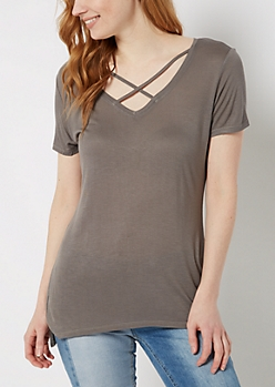 Gray Cross-Strap Tee
