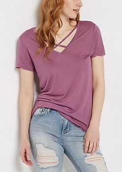 Dusty Lavender Cross-Strap Tee