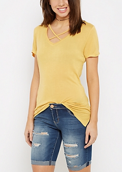 Yellow Cross-Strap Tee