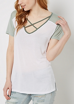 Dark Green Color Block Cross-Strap Tee