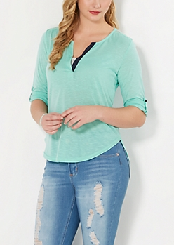 Light Green Crochet Back Henley Top