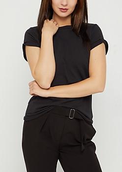 Black Rolled Sleeve Mid Length Tee