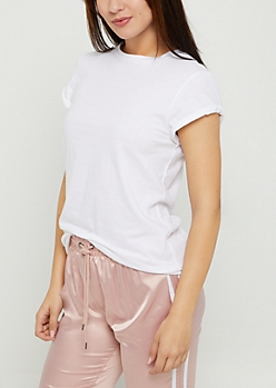 White Rolled Sleeve Mid Length Tee