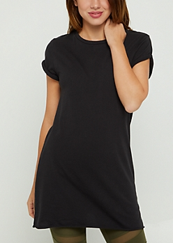 Black Rolled Sleeve Tunic Length Tee
