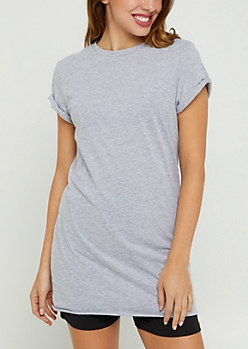 Heather Gray Rolled Sleeve Tunic Length Tee