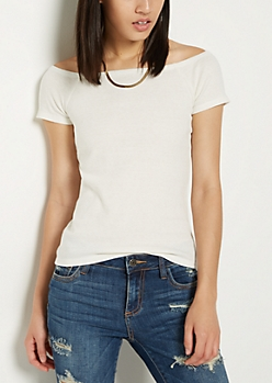 Ivory Rib Knit Off Shoulder Tee