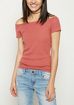 Pink Rib Knit Off Shoulder Tee