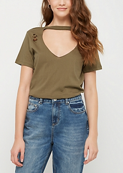 Olive Destructed Cutout Tee