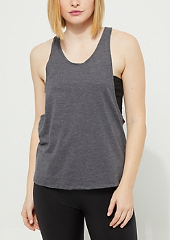 Charcoal Gray Racerback Soft Knit Muscle Tank