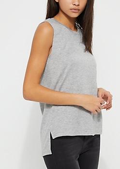 Heather Gray Side Seam Split Knit Tank