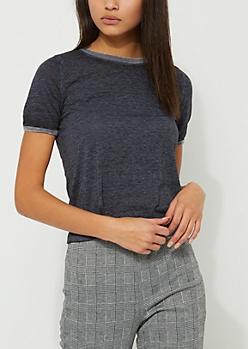 Charcoal Heathered Contrast Ringer Tee