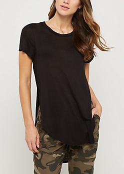 Black Split Seam Tunic Tee