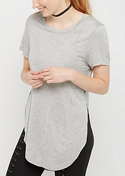 Heather Gray Split Seam Tunic Tee