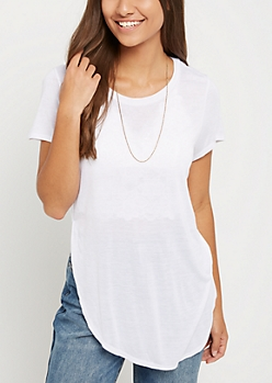White Split Seam Tunic Tee