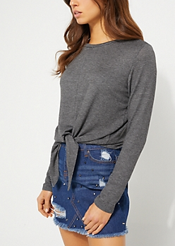 Charcoal Gray Knotted Front Top