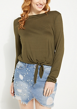 Olive Soft Knit Tie Front Long Sleeve Tee