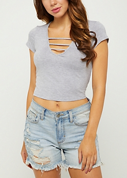 Heather Gray Caged V Neck Crop Top