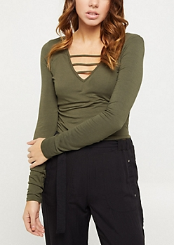Olive Strappy Long Sleeve Crop Tee