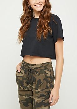 Black Short Sleeve Crop Top