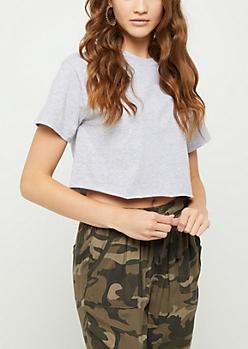 Heather Gray Short Sleeve Crop Top