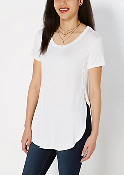 White Side Slit Tunic Tee