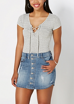 Gray Striped Lace-Up Ribbed Tee
